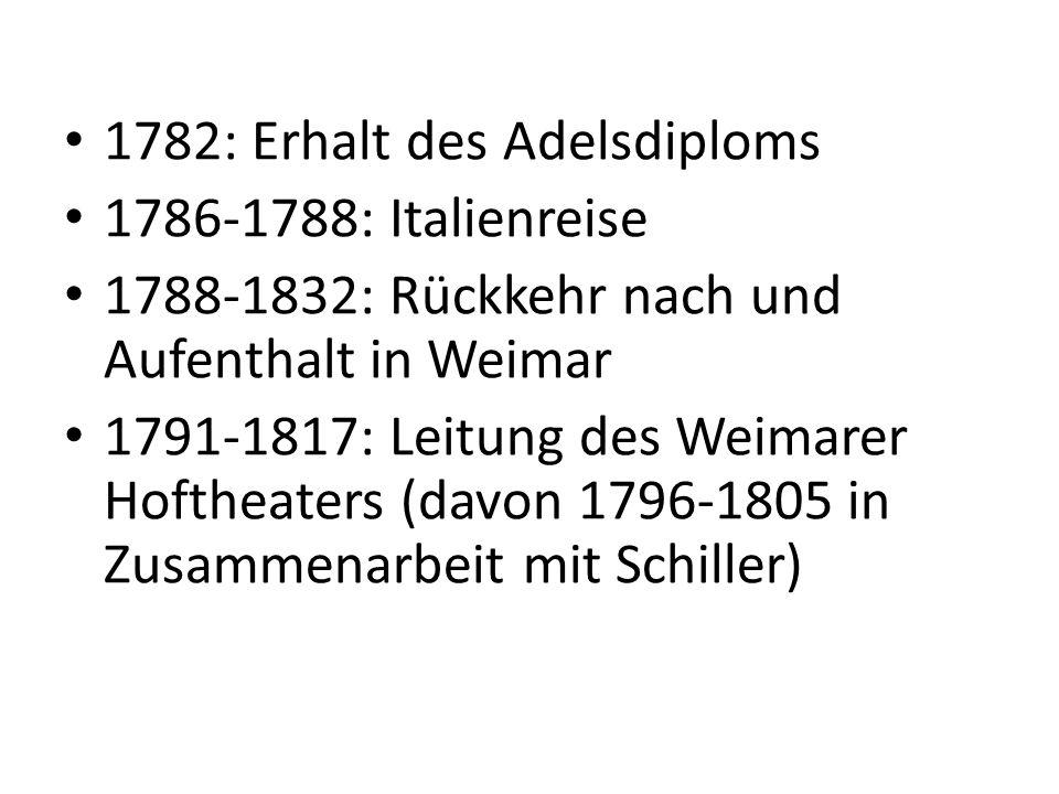 1806: Hochzeit mit Christiane Vulpius 1808: Goethe trifft auf Napoleon 1815: Ernennung zum Staatsminister 1835: Goethe stirbt in Weimar