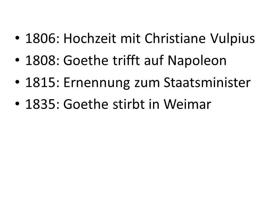 Bedeutung von Goethe ist Deutschlands größter Dichter er war nicht nur Dichter und Schriftsteller, sondern auch Künstler, Naturforscher und Staatsmann wird heute als Universalgenie bezeichnet Werke von Goethe werden noch heute in den Schulen behandelt (z.B.
