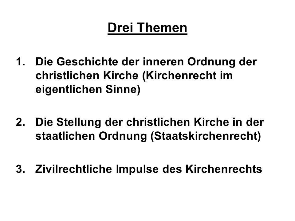 1.Die Geschichte der inneren Ordnung der christlichen Kirche (Kirchenrecht im eigentlichen Sinne) 2.Die Stellung der christlichen Kirche in der staatl