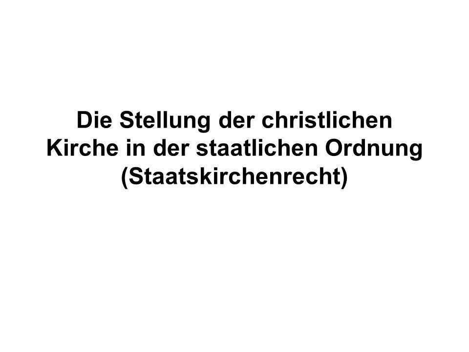 Die Stellung der christlichen Kirche in der staatlichen Ordnung (Staatskirchenrecht)