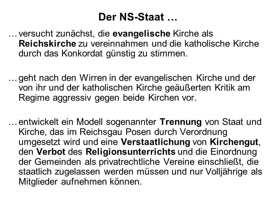 Der NS-Staat … …versucht zunächst, die evangelische Kirche als Reichskirche zu vereinnahmen und die katholische Kirche durch das Konkordat günstig zu