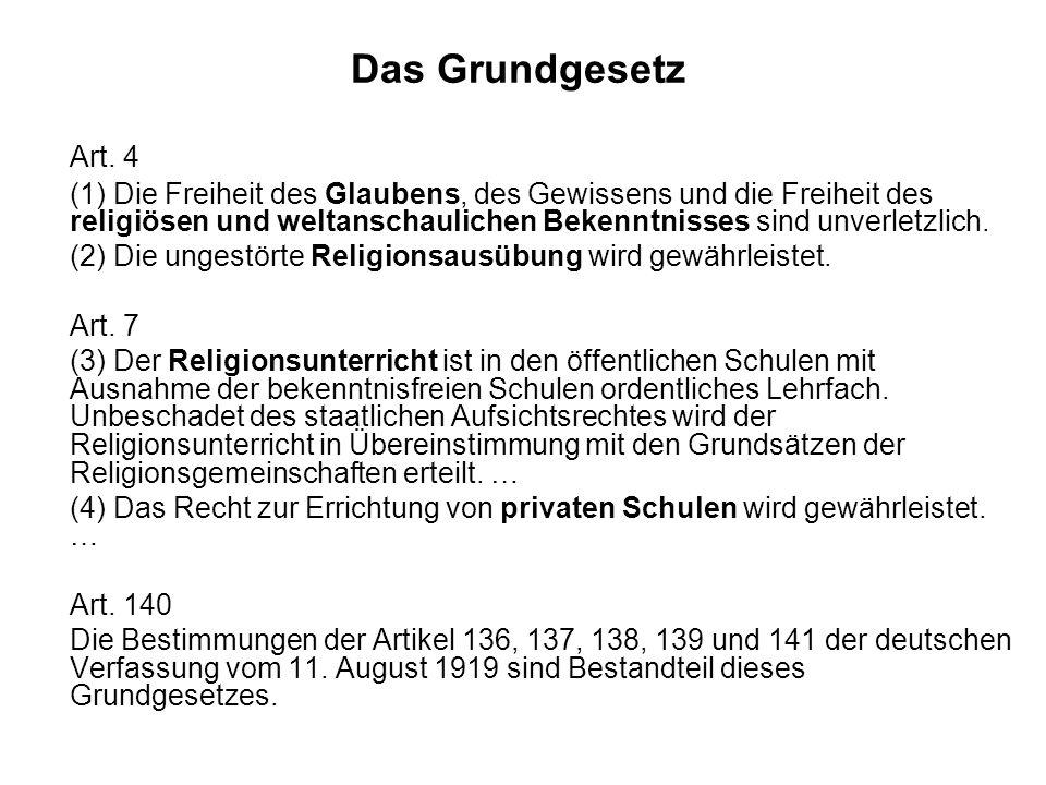 Das Grundgesetz Art. 4 (1) Die Freiheit des Glaubens, des Gewissens und die Freiheit des religiösen und weltanschaulichen Bekenntnisses sind unverletz