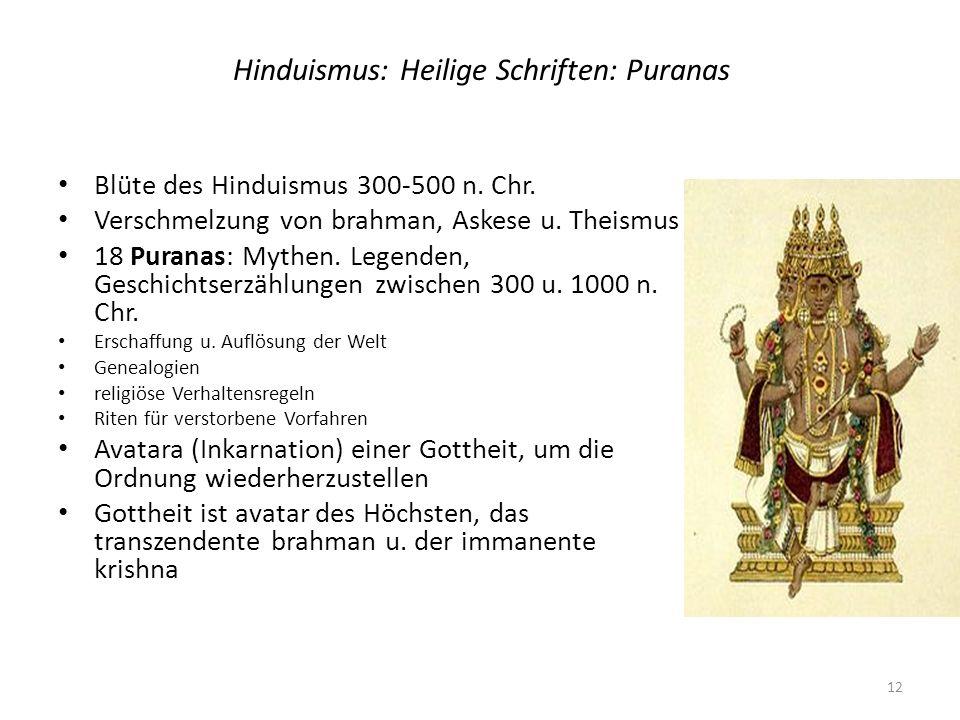 Hinduismus: Heilige Schriften: Puranas Blüte des Hinduismus 300-500 n. Chr. Verschmelzung von brahman, Askese u. Theismus 18 Puranas: Mythen. Legenden