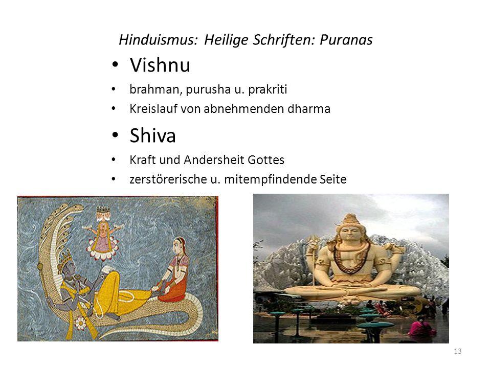 Hinduismus: Heilige Schriften: Puranas Vishnu brahman, purusha u. prakriti Kreislauf von abnehmenden dharma Shiva Kraft und Andersheit Gottes zerstöre