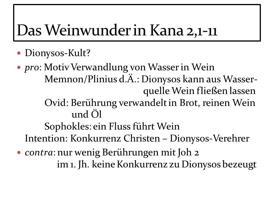 Dionysos-Kult? pro: Motiv Verwandlung von Wasser in Wein Memnon/Plinius d.Ä.: Dionysos kann aus Wasser- quelle Wein fließen lassen Ovid: Berührung ver