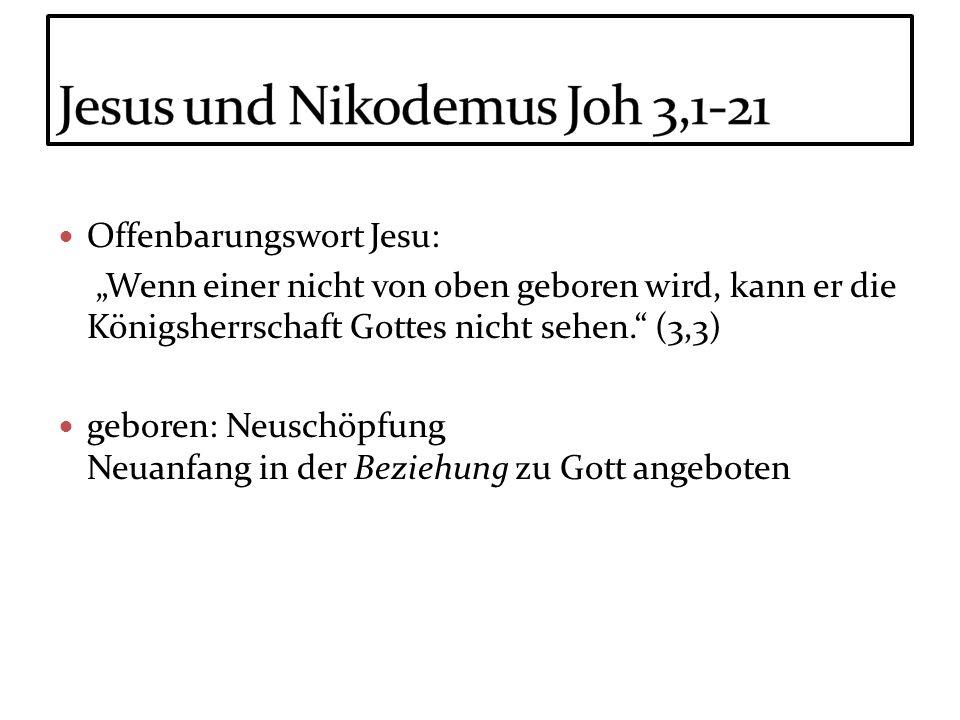 Offenbarungswort Jesu: Wenn einer nicht von oben geboren wird, kann er die Königsherrschaft Gottes nicht sehen. (3,3) geboren: Neuschöpfung Neuanfang