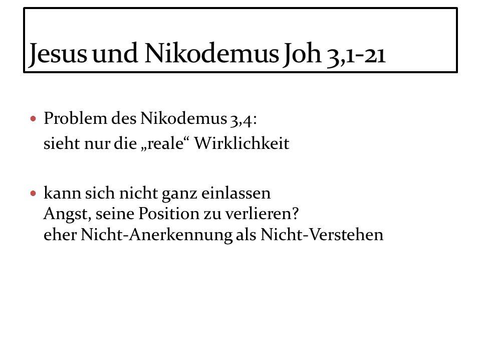 Problem des Nikodemus 3,4: sieht nur die reale Wirklichkeit kann sich nicht ganz einlassen Angst, seine Position zu verlieren? eher Nicht-Anerkennung