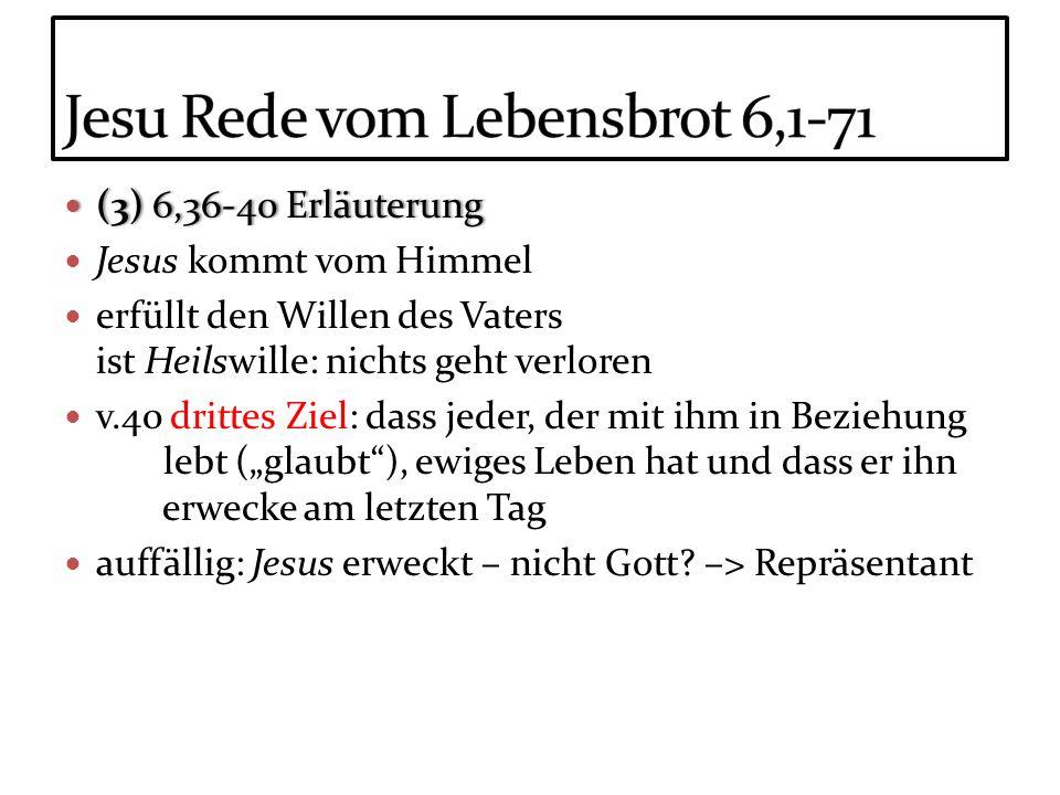 (3) 6,36-40 Erläuterung (3) 6,36-40 Erläuterung Jesus kommt vom Himmel erfüllt den Willen des Vaters ist Heilswille: nichts geht verloren v.40 drittes