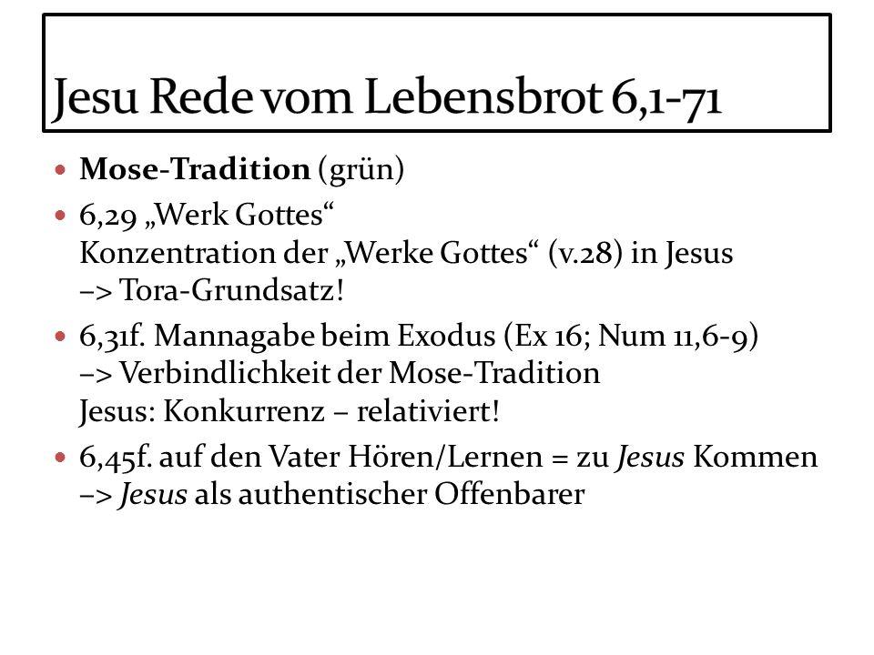 Mose-Tradition (grün) 6,29 Werk Gottes Konzentration der Werke Gottes (v.28) in Jesus –> Tora-Grundsatz! 6,31f. Mannagabe beim Exodus (Ex 16; Num 11,6