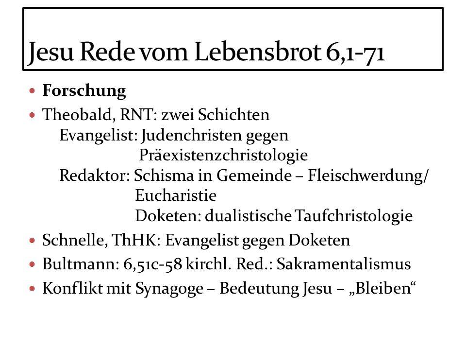 Forschung Theobald, RNT: zwei Schichten Evangelist: Judenchristen gegen Präexistenzchristologie Redaktor: Schisma in Gemeinde – Fleischwerdung/ Euchar