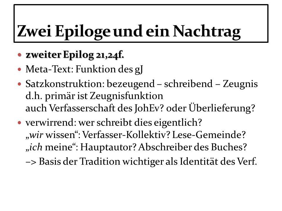 zweiter Epilog 21,24f. zweiter Epilog 21,24f. Meta-Text: Funktion des gJ Satzkonstruktion: bezeugend – schreibend – Zeugnis d.h. primär ist Zeugnisfun