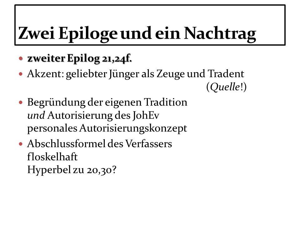 zweiter Epilog 21,24f. zweiter Epilog 21,24f. Akzent: geliebter Jünger als Zeuge und Tradent (Quelle!) Begründung der eigenen Tradition und Autorisier