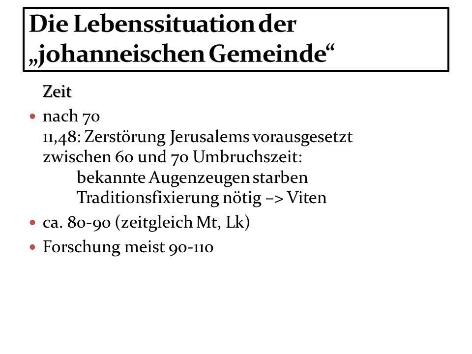 Zeit nach 70 11,48: Zerstörung Jerusalems vorausgesetzt zwischen 60 und 70 Umbruchszeit: bekannte Augenzeugen starben Traditionsfixierung nötig –> Vit