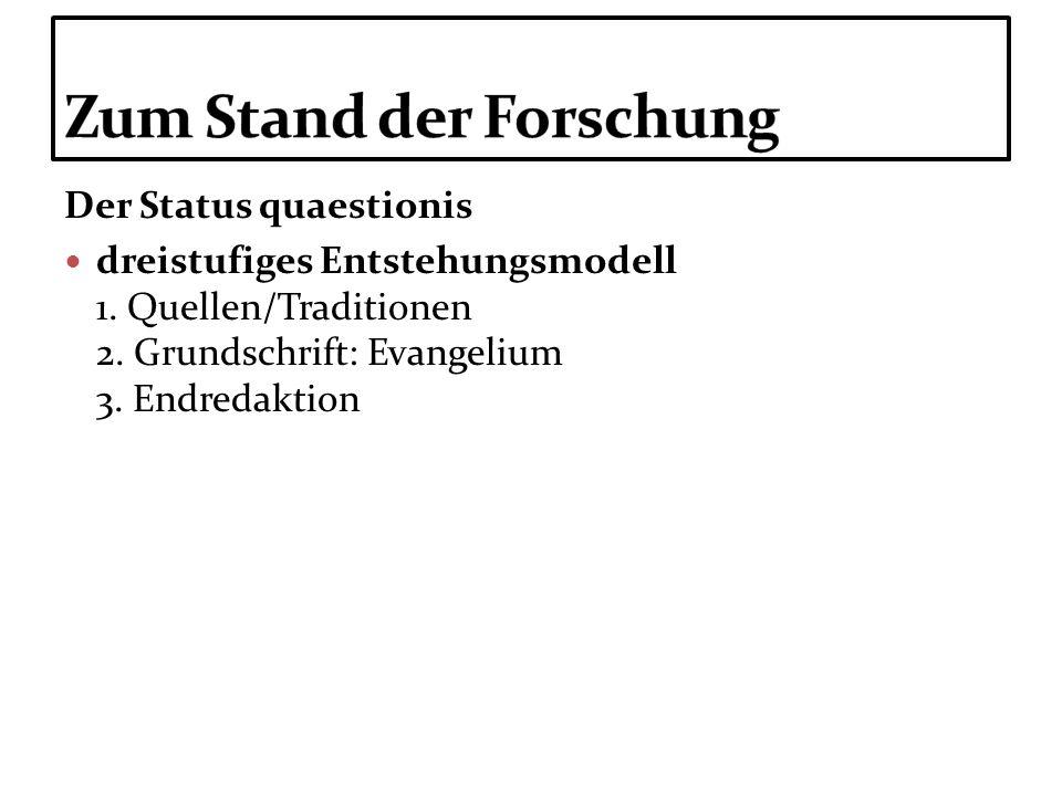 Der Status quaestionis dreistufiges Entstehungsmodell 1. Quellen/Traditionen 2. Grundschrift: Evangelium 3. Endredaktion