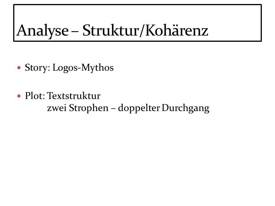 Story: Logos-Mythos Plot: Textstruktur zwei Strophen – doppelter Durchgang