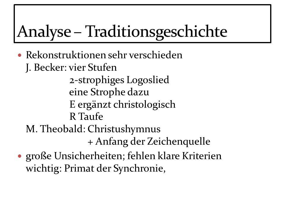 Rekonstruktionen sehr verschieden J. Becker: vier Stufen 2-strophiges Logoslied eine Strophe dazu E ergänzt christologisch R Taufe M. Theobald: Christ