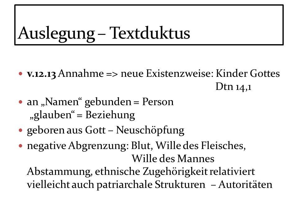 v.12.13 Annahme => neue Existenzweise: Kinder Gottes Dtn 14,1 an Namen gebunden = Person glauben = Beziehung geboren aus Gott – Neuschöpfung negative