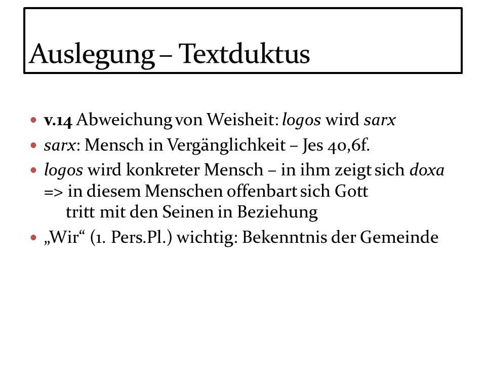 v.14 Abweichung von Weisheit: logos wird sarx sarx: Mensch in Vergänglichkeit – Jes 40,6f. logos wird konkreter Mensch – in ihm zeigt sich doxa => in