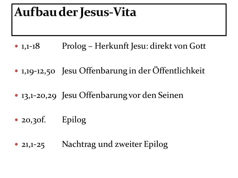 1,1-18Prolog – Herkunft Jesu: direkt von Gott 1,19-12,50Jesu Offenbarung in der Öffentlichkeit 13,1-20,29Jesu Offenbarung vor den Seinen 20,30f.Epilog