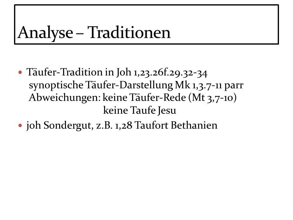 Täufer-Tradition in Joh 1,23.26f.29.32-34 synoptische Täufer-Darstellung Mk 1,3.7-11 parr Abweichungen: keine Täufer-Rede (Mt 3,7-10) keine Taufe Jesu