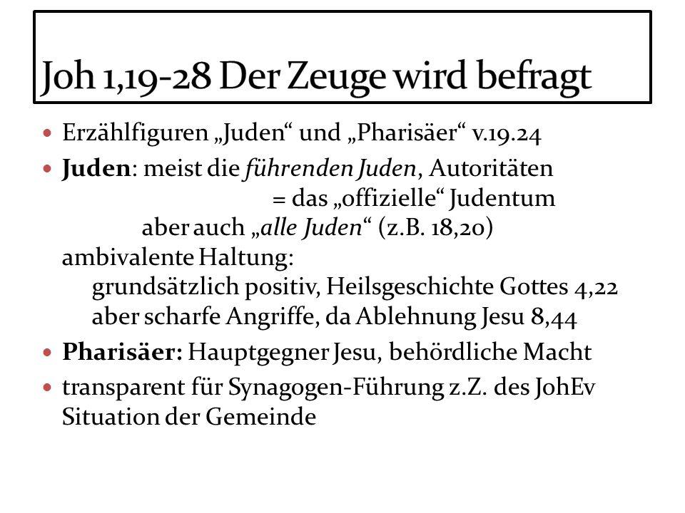 Erzählfiguren Juden und Pharisäer v.19.24 Juden: meist die führenden Juden, Autoritäten = das offizielle Judentum aber auch alle Juden (z.B. 18,20) am