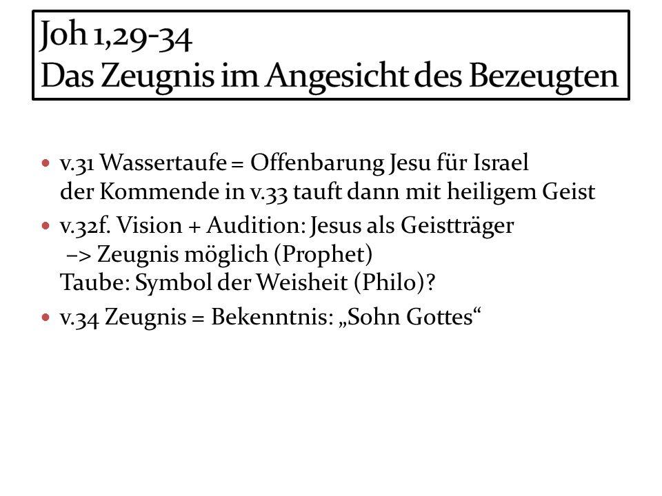 v.31 Wassertaufe = Offenbarung Jesu für Israel der Kommende in v.33 tauft dann mit heiligem Geist v.32f. Vision + Audition: Jesus als Geistträger –> Z