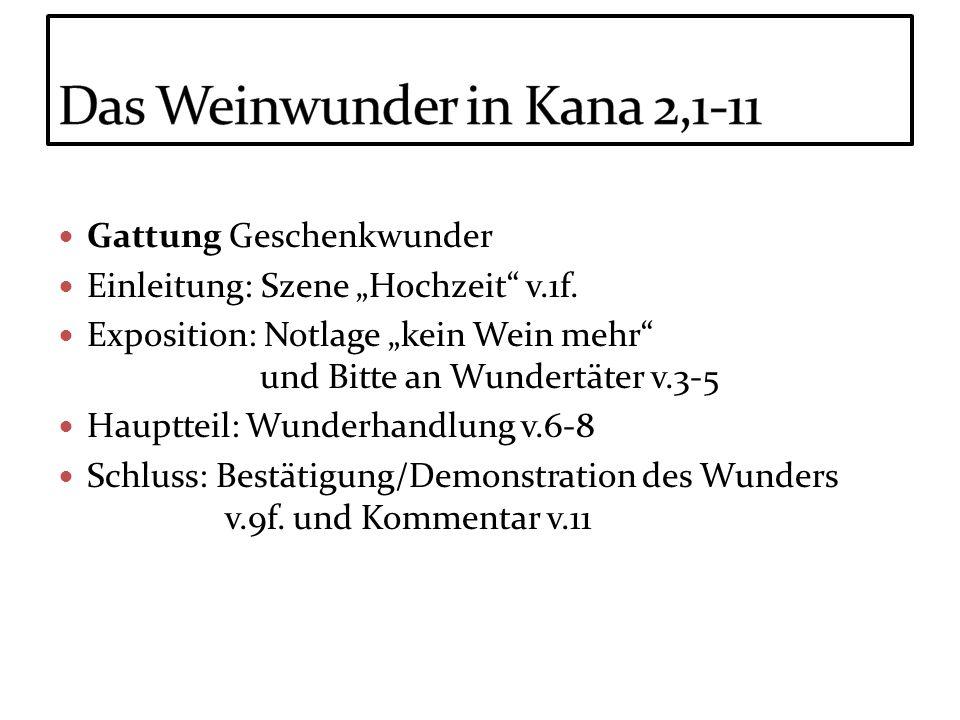 Gattung Geschenkwunder Einleitung: Szene Hochzeit v.1f. Exposition: Notlage kein Wein mehr und Bitte an Wundertäter v.3-5 Hauptteil: Wunderhandlung v.