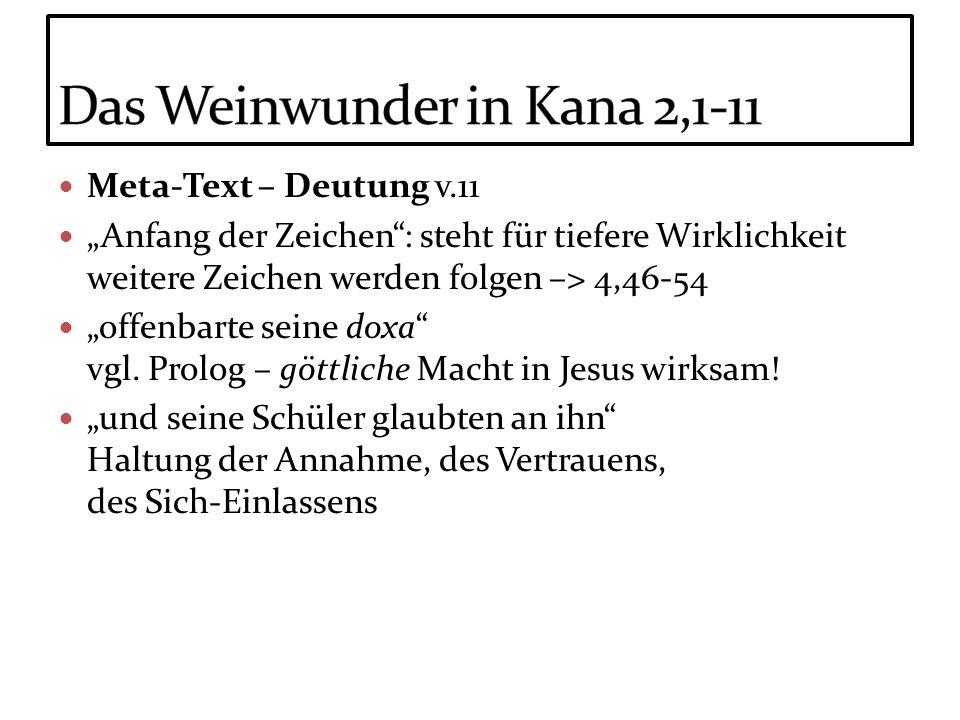 Meta-Text – Deutung v.11 Anfang der Zeichen: steht für tiefere Wirklichkeit weitere Zeichen werden folgen –> 4,46-54 offenbarte seine doxa vgl. Prolog