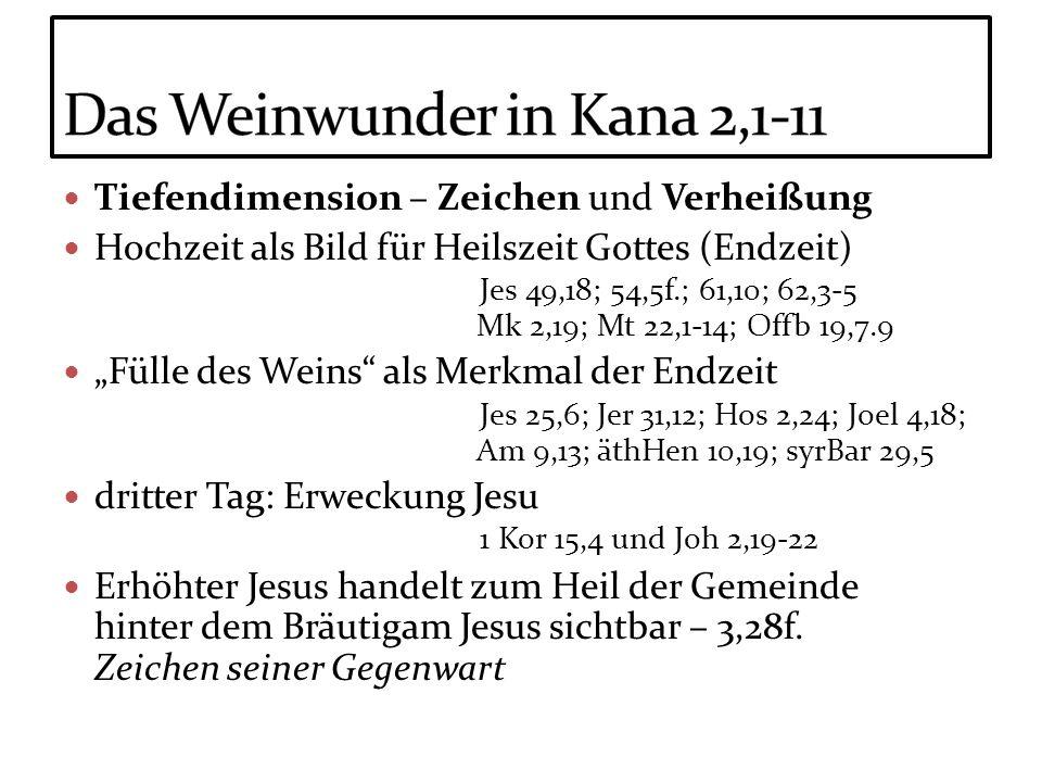 Tiefendimension – Zeichen und Verheißung Hochzeit als Bild für Heilszeit Gottes (Endzeit) Jes 49,18; 54,5f.; 61,10; 62,3-5 Mk 2,19; Mt 22,1-14; Offb 1