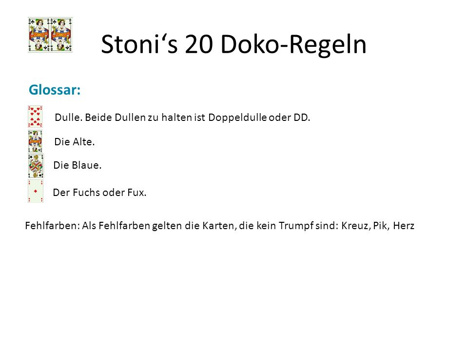 Stonis 20 Doko-Regeln 18a.