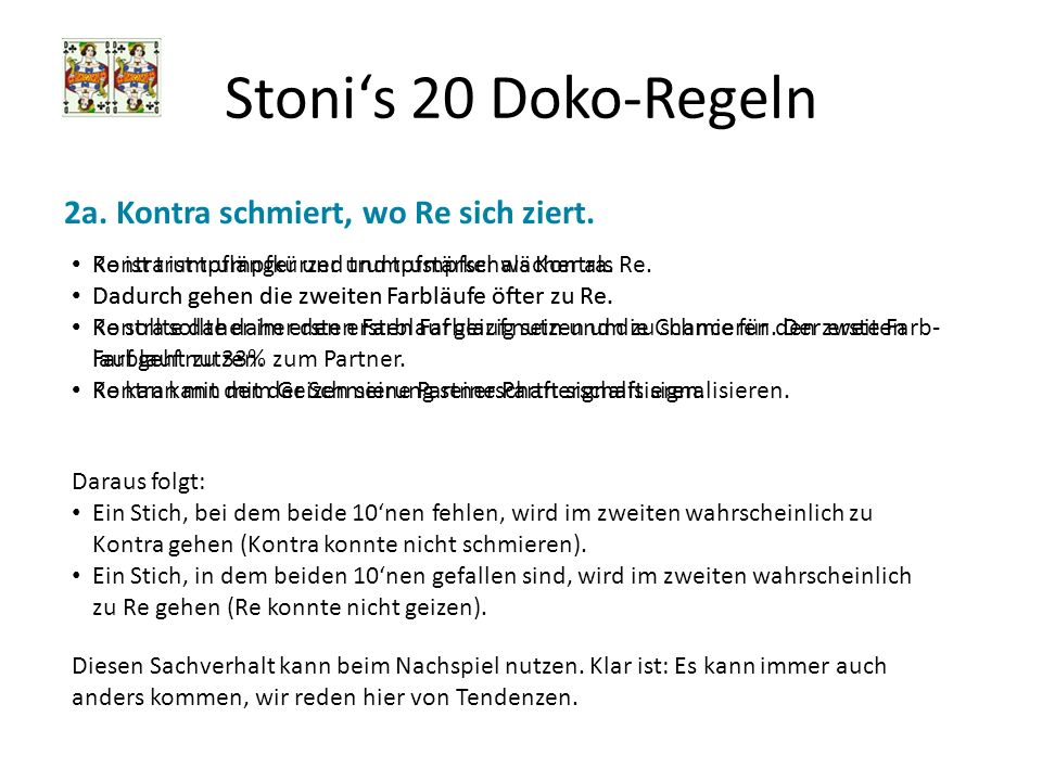 Stonis 20 Doko-Regeln Erwartungswerte berechnen To be done