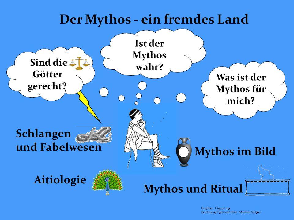 Der Mythos - ein fremdes Land Ist der Mythos wahr? Was ist der Mythos für mich? Grafiken: Clipart.org Zeichnung Figur und Altar: Matthias Sänger Schla