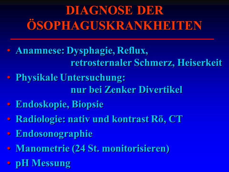 Anamnese: Dysphagie, Reflux, retrosternaler Schmerz, Heiserkeit Physikale Untersuchung: nur bei Zenker Divertikel Endoskopie, Biopsie Radiologie: nativ und kontrast Rö, CT Endosonographie Manometrie (24 St.