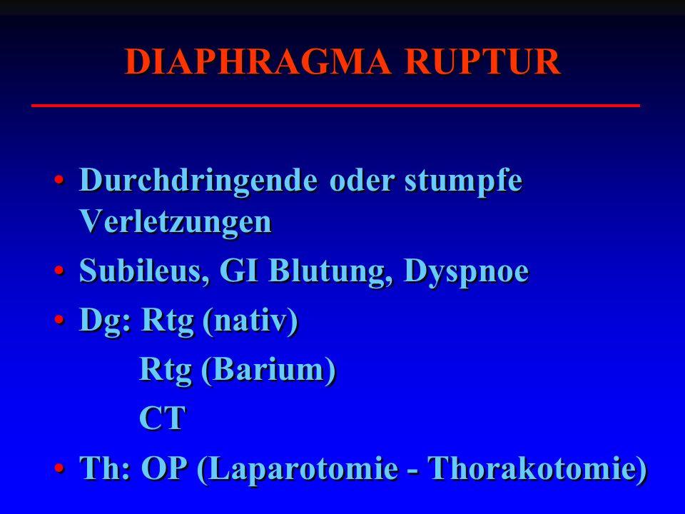 DIAPHRAGMA RUPTUR Durchdringende oder stumpfe Verletzungen Subileus, GI Blutung, Dyspnoe Dg: Rtg (nativ) Rtg (Barium) CT Th: OP (Laparotomie - Thorakotomie) Durchdringende oder stumpfe Verletzungen Subileus, GI Blutung, Dyspnoe Dg: Rtg (nativ) Rtg (Barium) CT Th: OP (Laparotomie - Thorakotomie)