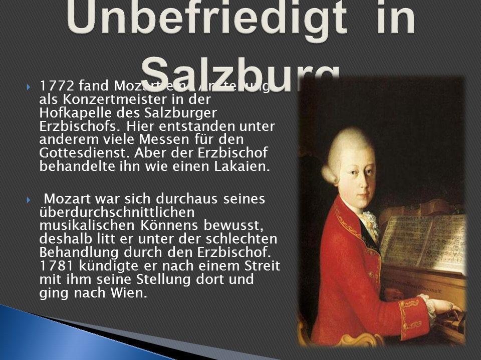 1772 fand Mozart eine Anstellung als Konzertmeister in der Hofkapelle des Salzburger Erzbischofs. Hier entstanden unter anderem viele Messen für den G