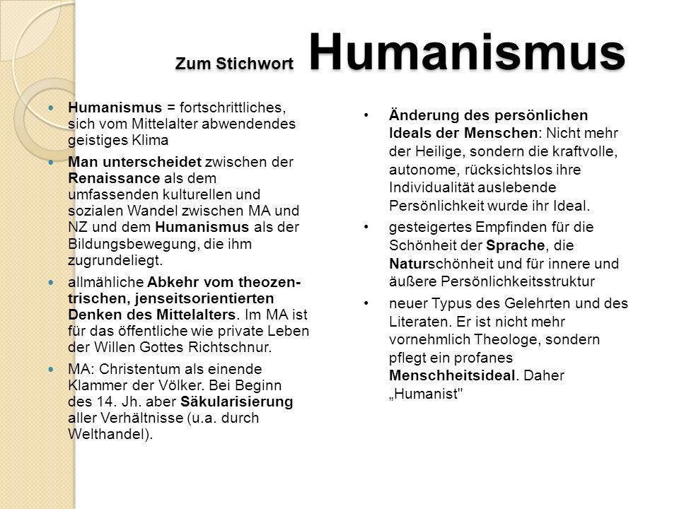 Zum Stichwort Humanismus Wichtigste Vertreter Humanisten der frühen Neuzeit Johannes Reuchlin (1455-1522) Erasmus von Rotterdam (1469- 1536) Albrecht Dürer (1471-1528) Thomas Morus (1478-1535) Ulrich von Hutten (1488-1523) Philipp Melanchthon (1497-1560)