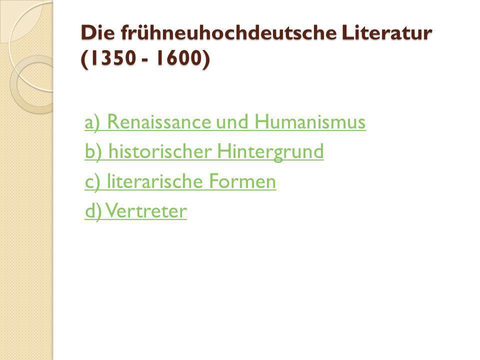 Renaissance und Reformation (XV-XVI Jhh.) Vorlesung 2