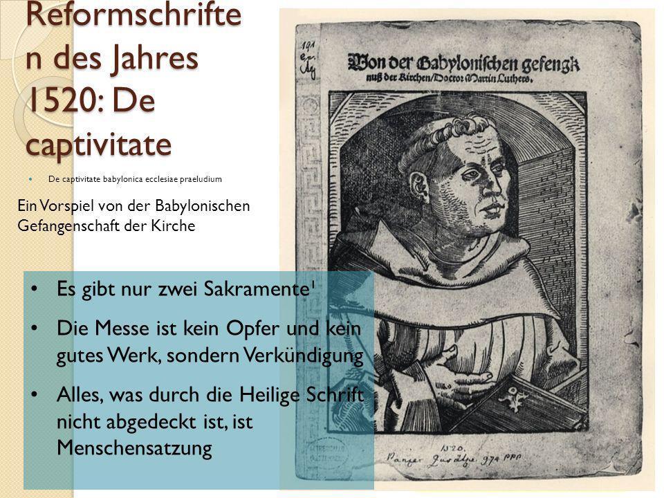 2.1.1 die Reformschriften Martin Luthers aus dem Jahre 1520: Adelsschrift An den christlichen Adel KG der Frühen Neuzeit - WS 2006/07 - Reform30 Alle Christen sind durch die Taufe gleichen Standes.