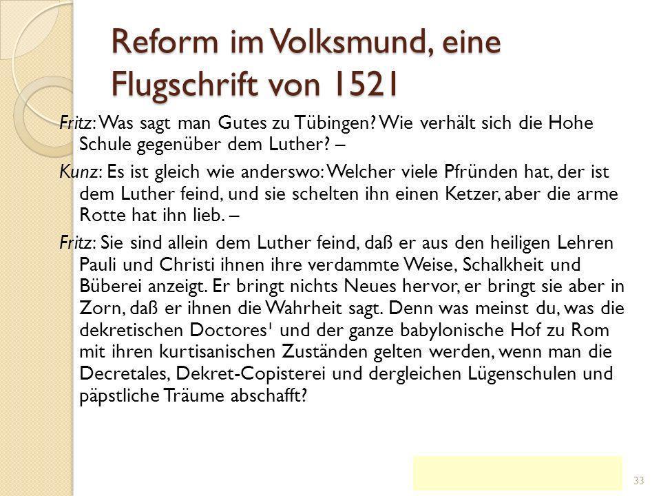 Reformschrifte n des Jahres 1520: Von der Freiheit eines Christenmensc hen lat.: Tractatus de libertate Christiana KG der Frühen Neuzeit - WS 2006/07