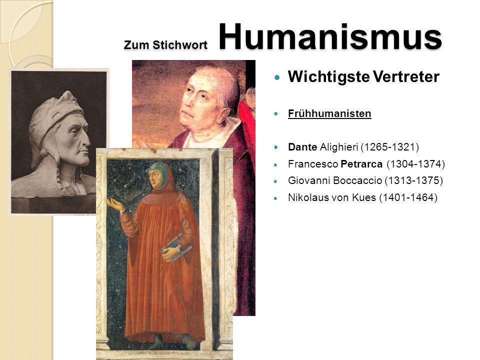Zum Stichwort Humanismus Griechisches Erbe: Aristoteles (384-322 v.Chr.), Menander (342-291 v.Chr.) übernommen von den römischen Humanisten der Stoa: insbes.