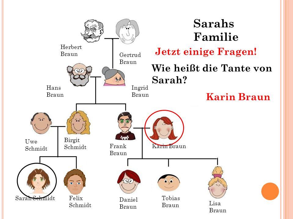 Hans Braun Ingrid Braun Gertrud Braun Herbert Braun Wie heißt die Tante von Sarah? Karin Braun Jetzt einige Fragen! Sarah SchmidtFelix Schmidt Tobias