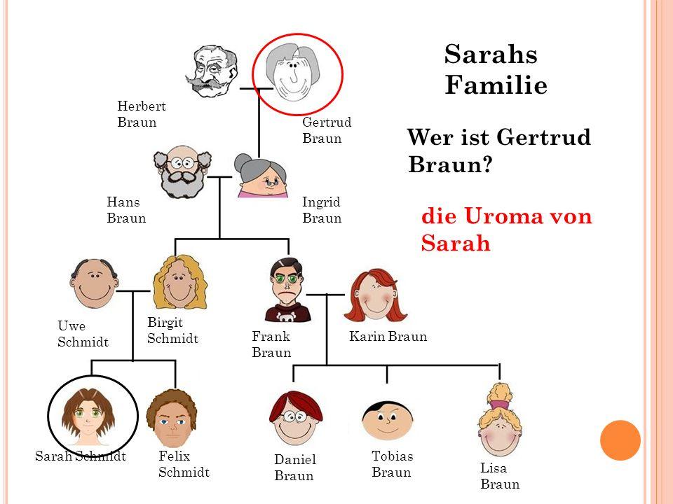 Hans Braun Ingrid Braun Gertrud Braun Herbert Braun Wer ist Gertrud Braun? die Uroma von Sarah Sarah SchmidtFelix Schmidt Tobias Braun Daniel Braun Li