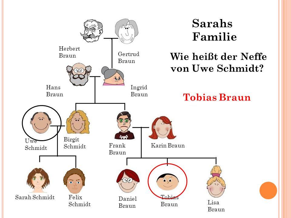 Hans Braun Ingrid Braun Gertrud Braun Herbert Braun Wie heißt der Neffe von Uwe Schmidt? Tobias Braun Sarah SchmidtFelix Schmidt Tobias Braun Daniel B
