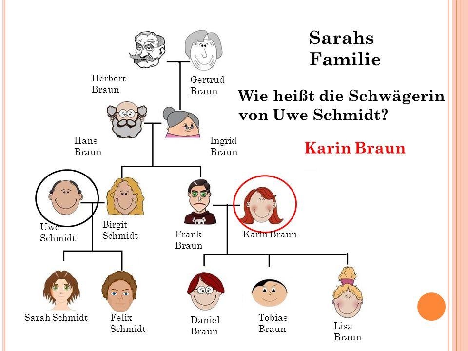 Hans Braun Ingrid Braun Gertrud Braun Herbert Braun Wie heißt die Schwägerin von Uwe Schmidt? Karin Braun Sarah SchmidtFelix Schmidt Tobias Braun Dani