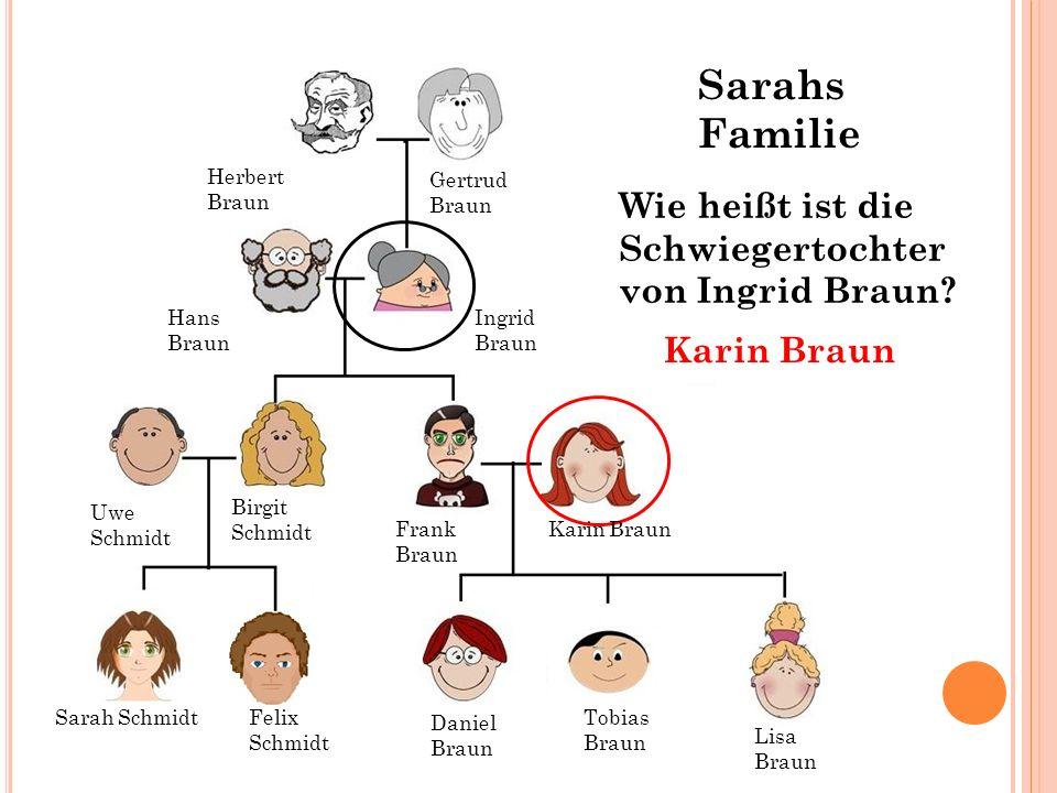 Hans Braun Ingrid Braun Gertrud Braun Herbert Braun Wie heißt ist die Schwiegertochter von Ingrid Braun? Karin Braun Sarah SchmidtFelix Schmidt Tobias