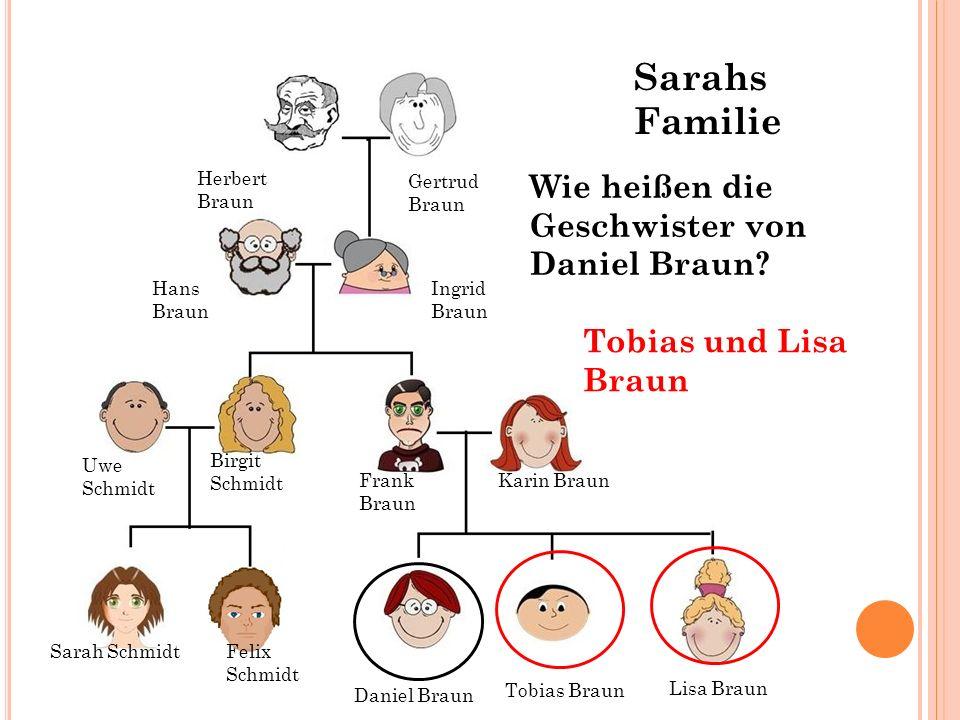 Hans Braun Ingrid Braun Gertrud Braun Herbert Braun Wie heißen die Geschwister von Daniel Braun? Tobias und Lisa Braun Sarah SchmidtFelix Schmidt Tobi