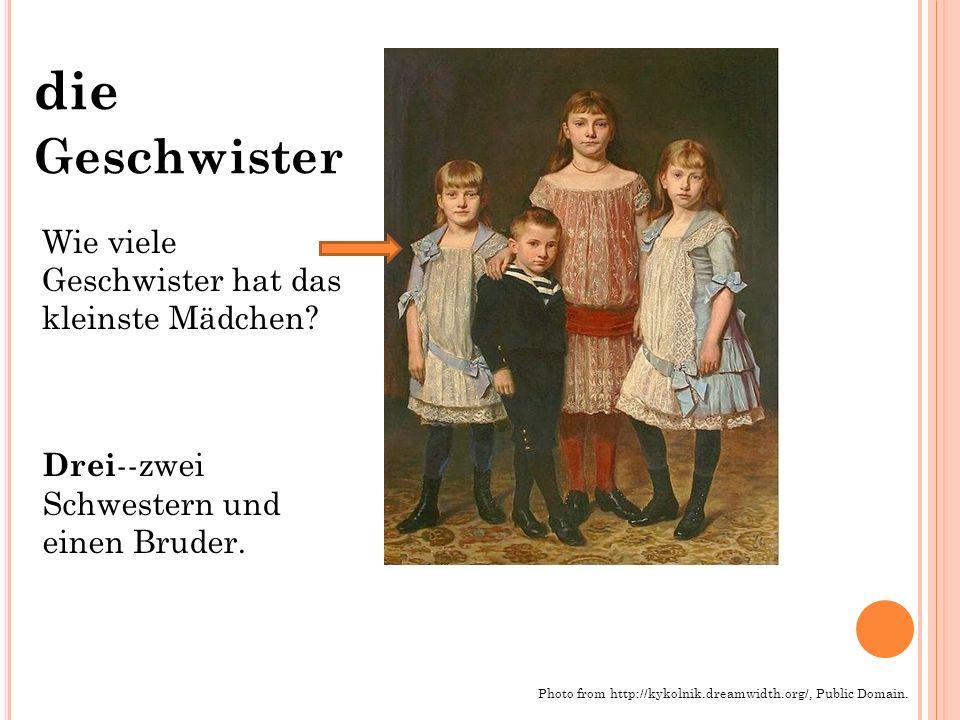 die Geschwister Photo from http://kykolnik.dreamwidth.org/, Public Domain. Wie viele Geschwister hat das kleinste Mädchen? Drei --zwei Schwestern und