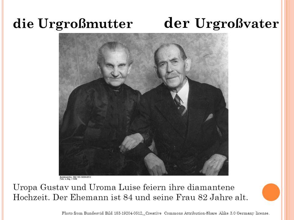 der Urgroßvater die Urgroßmutter Photo from Bundesvid Bild 183-19204-0512,_Creative Commons Attribution-Share Alike 3.0 Germany license. Uropa Gustav