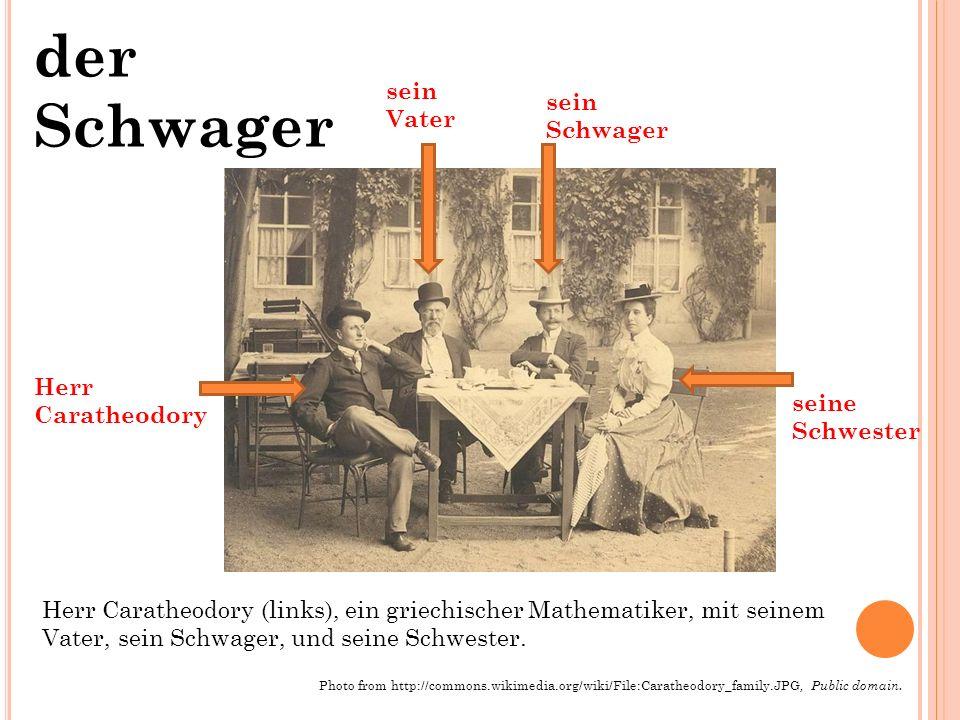 der Schwager Herr Caratheodory (links), ein griechischer Mathematiker, mit seinem Vater, sein Schwager, und seine Schwester.