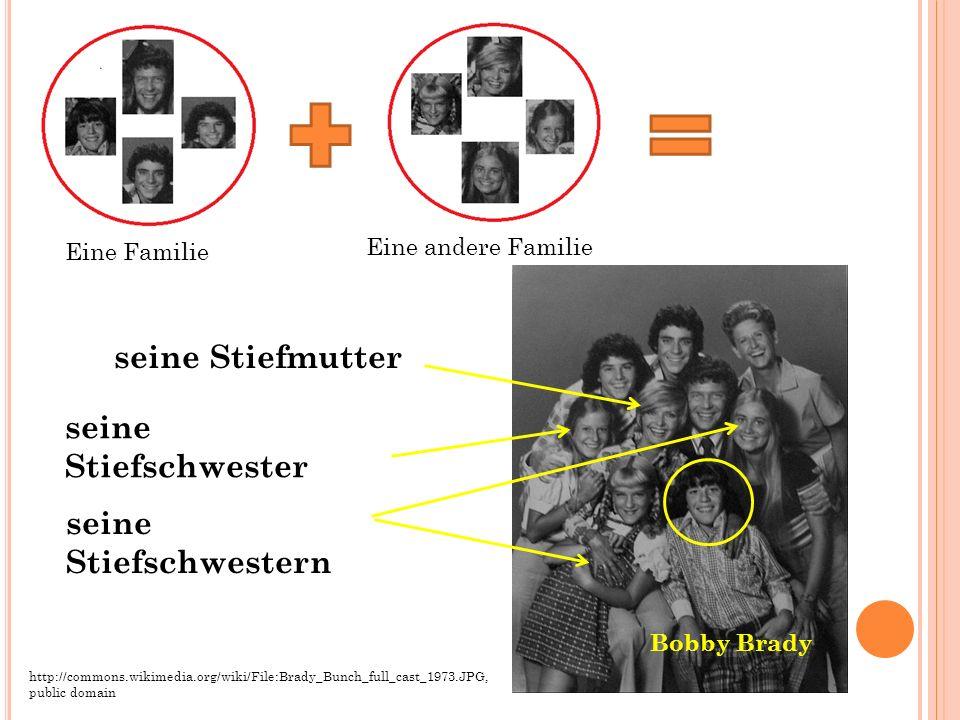 seine Stiefmutter seine Stiefschwester Eine Familie Eine andere Familie Bobby Brady http://commons.wikimedia.org/wiki/File:Brady_Bunch_full_cast_1973.JPG, public domain seine Stiefschwestern